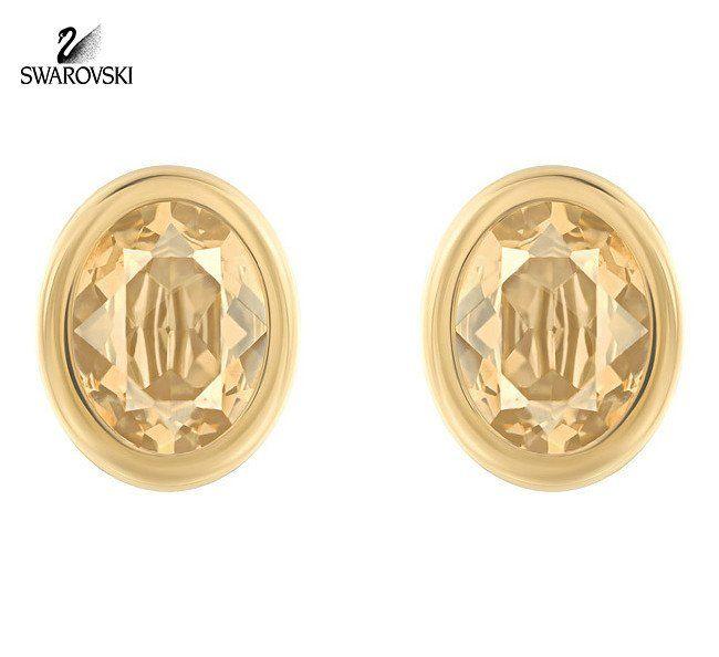 64c80f7bdd5a4 Swarovski Golden Crystal Pierced Studs Earrings LASER Yellow Gold ...