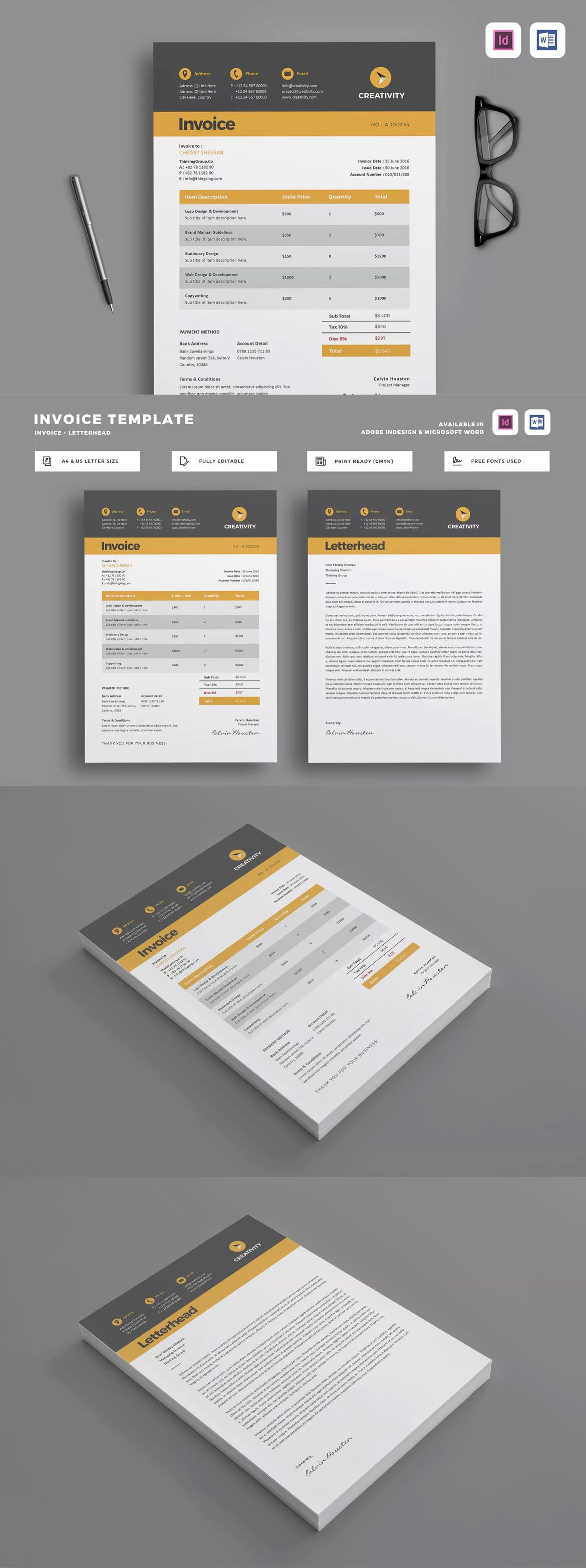 Invoice Template Indesign Indd A Us Letter