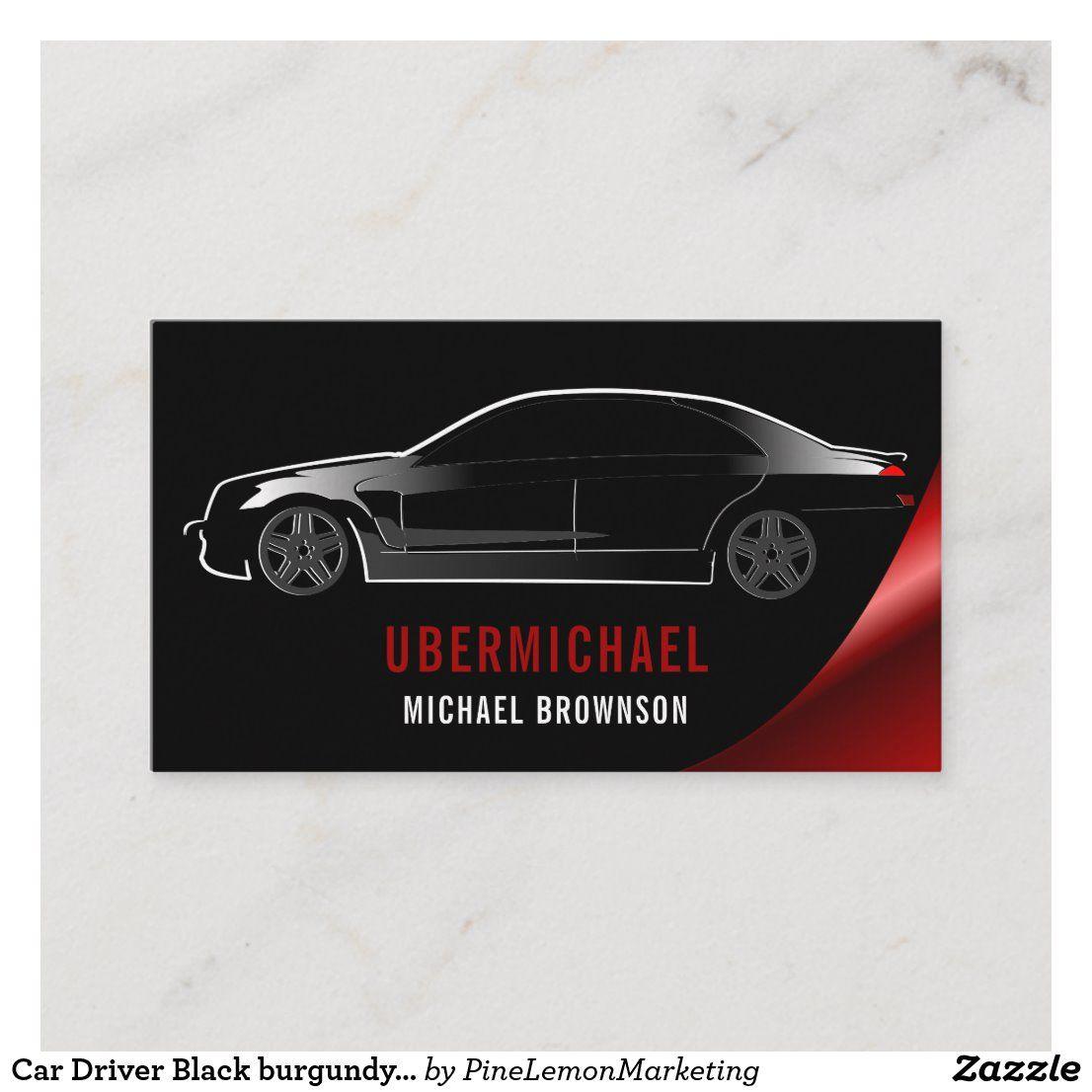 Car Driver Black burgundy Auto Repair Rent Business Card