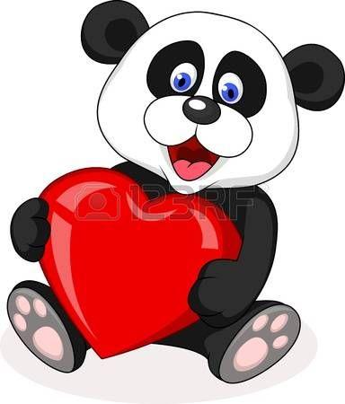 18047040 panda ours avec le coeur d amour jpg 384 450 decora es rh pinterest co uk