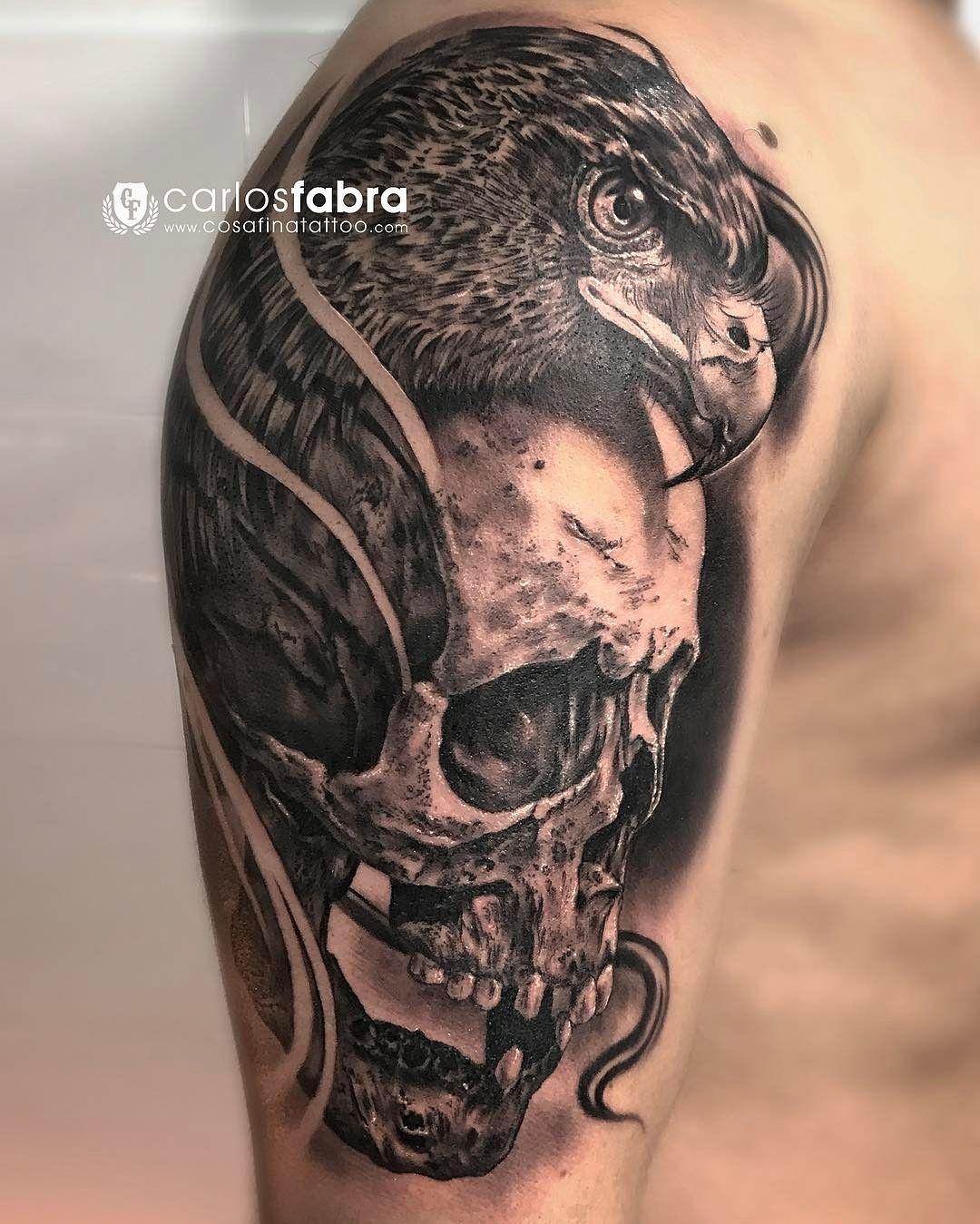 calavera y guila skull and eagle realizado en