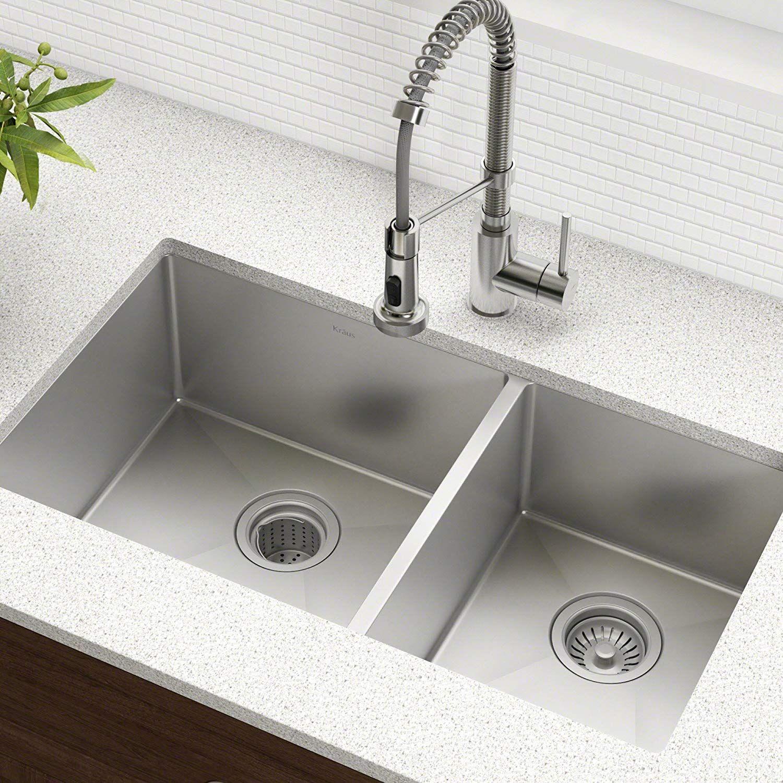 Kraus Standart Pro 33 Inch 16 Gauge Undermount 60 40 Double Bowl Stainless Steel Kitch Undermount Kitchen Sinks Best Kitchen Sinks Stainless Steel Kitchen Sink