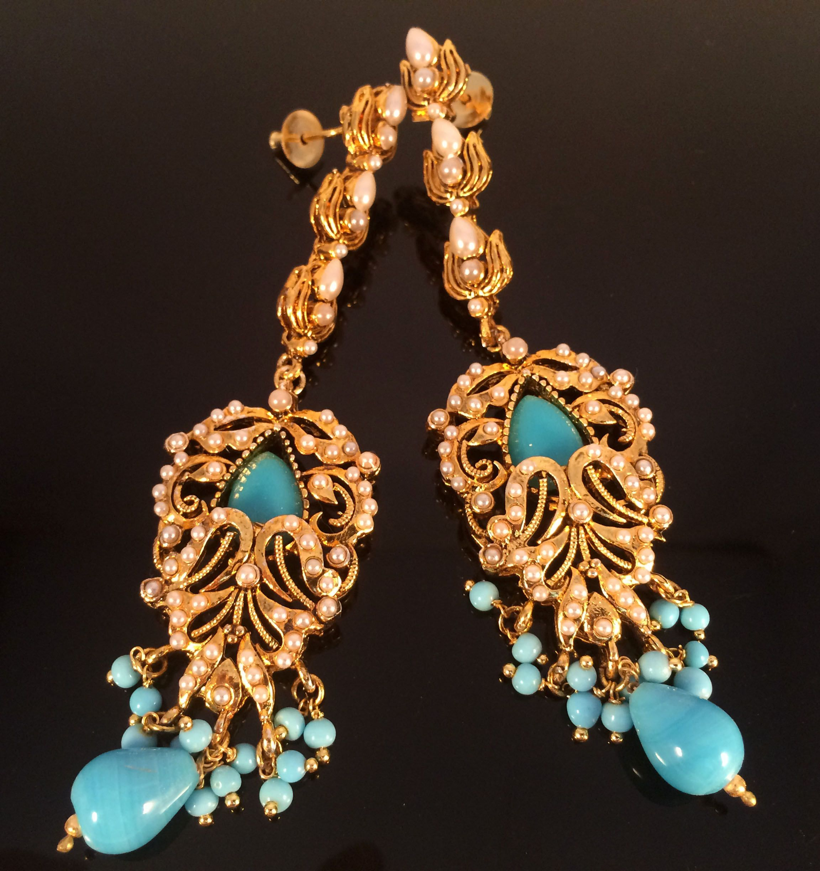 Vintage earrings turquoise, art deco style boho-style earrings retro earrings Art Deco earrings bronze antique