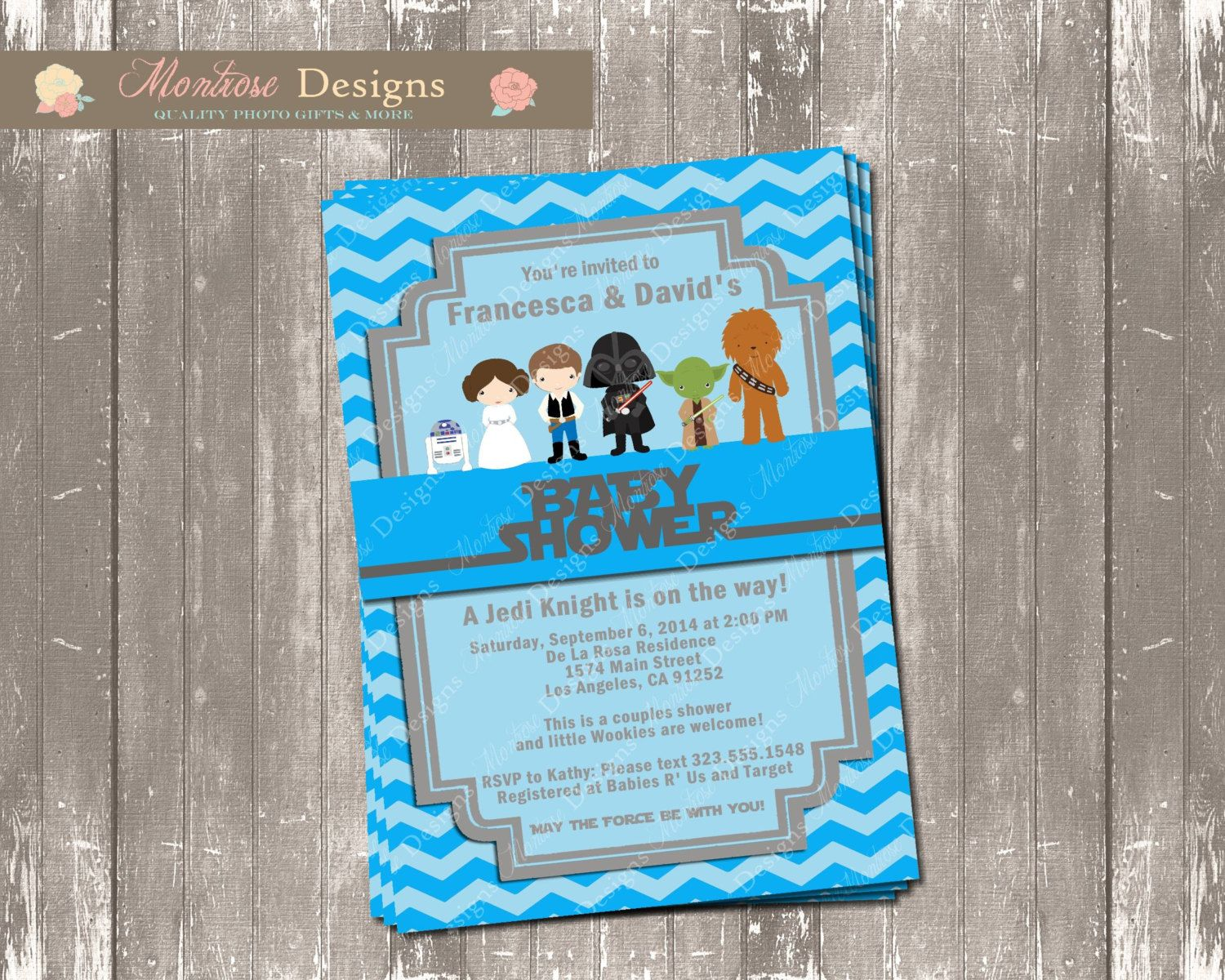 Blue Chevron Star Wars Baby Shower Invitation By Montrosedesigns