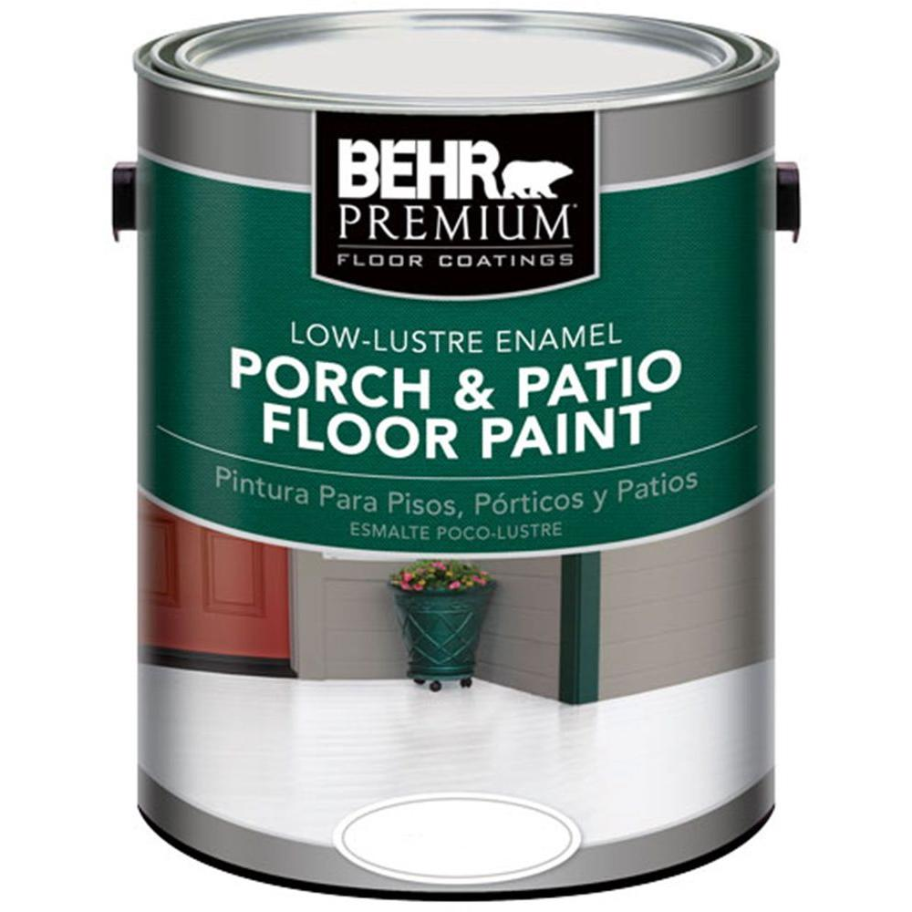 Behr Premium 1 Gal Ultra Pure White Low Lustre Enamel Interior Exterior Porch And Patio Floor Paint 605001 The Home Depot Painted Patio Painted Cement Patio Patio Flooring
