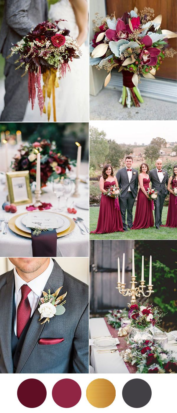 Six Beautiful Burgundy Wedding Colors In Shades Of Gold Wedding Color Palette Burgundy And Grey Wedding Burgundy Wedding Colors