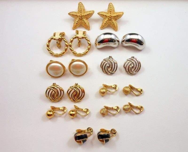 Vintage Monet Earring Lot Faux Pearl Enamel Gold Silver