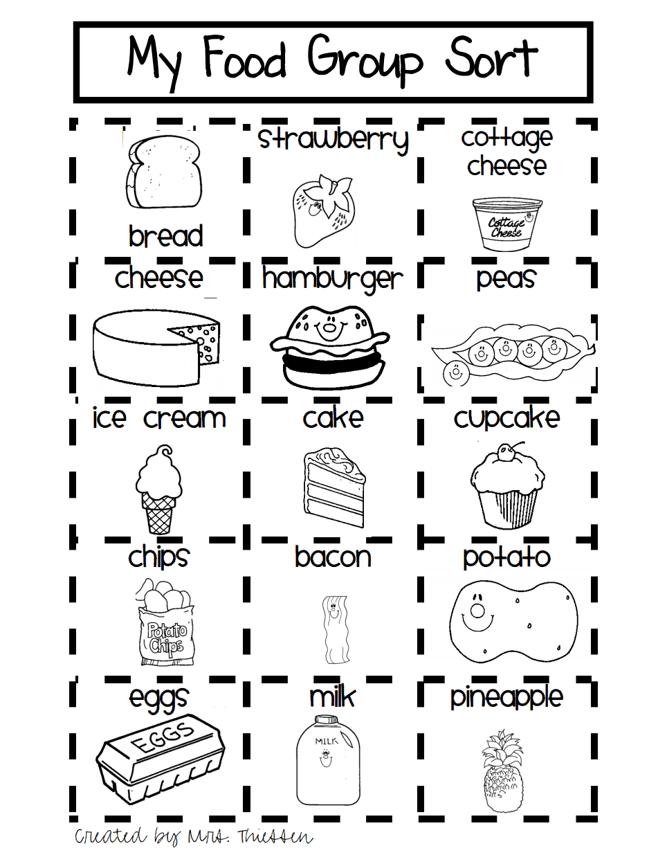 Food Worksheets For Preschoolers : My first grade food sort pdf kindergarten pinterest