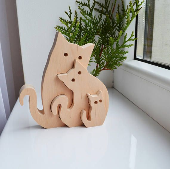 Wooden Puzzle cats – Educational toys – Puzzle Toy – Kids gifts – waldorf wood animals – Wooden cats – cats family- Fathers Day gift