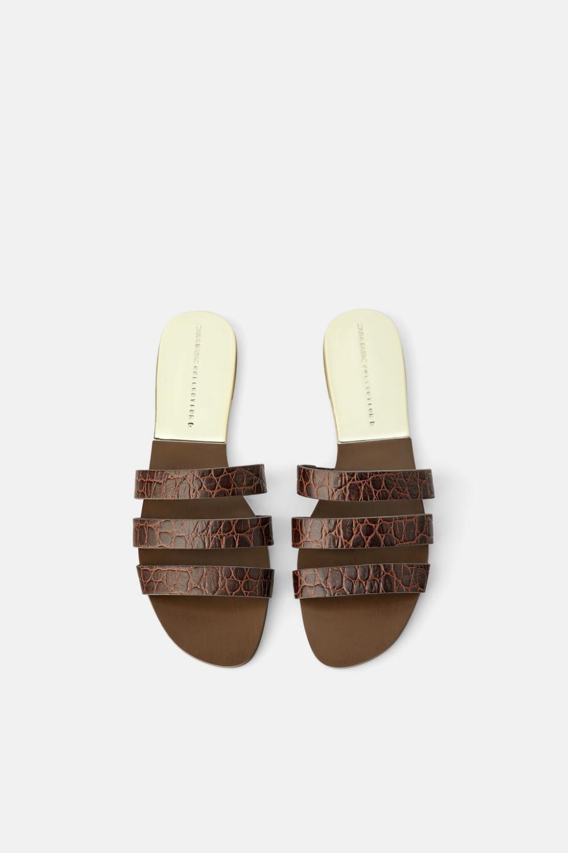 Animal Print Leather Flat Sandals View All Shoes Woman Sale Zara United Kingdom Ledersandalen Flach Leder Lederpragung