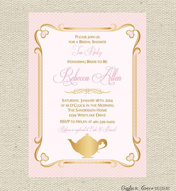 Tea party bridal shower invitation printable tea party invite free printable tea time invitations tea party bridal shower invitation printable filmwisefo Images