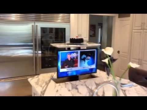 Install A Pop Up Tv Lift To Make Use Of Extra Island Space Youtube Tv In Kitchen Kitchen Installation Hidden Tv