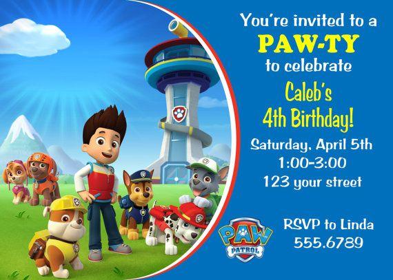 Disney Paw Patrol Birthday Party Invitation Custom