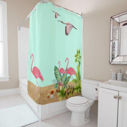 Tropical Beach, Pink Flamingos, Seashells, Shower Curtain Tropical