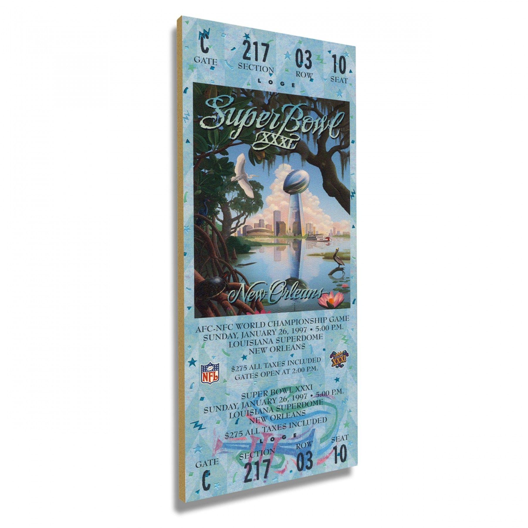 Green Bay Packers Super Bowl XXXI Mega Wood Ticket Plaque at the