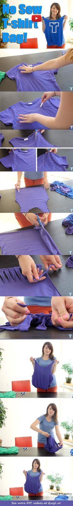 Make A No Sew T-Shirt Tote Bag In 10 Minutes #nosewshirts