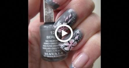 Nail Art: Grey with pink (one stroke) flower