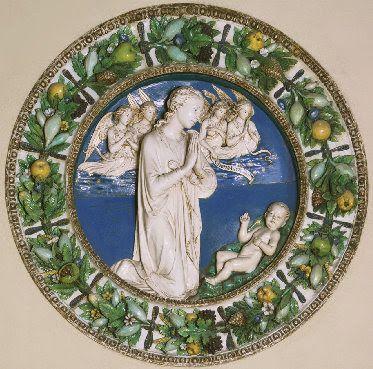 """Luca Della Robbia  - """"Vergine e angeli in adorazione del Bambino""""- terracotta invetriata -   circa 1460-'70 - Cornice  attribuita  ad Andrea Della Robbia -  Philadelphia Museum of Art ."""