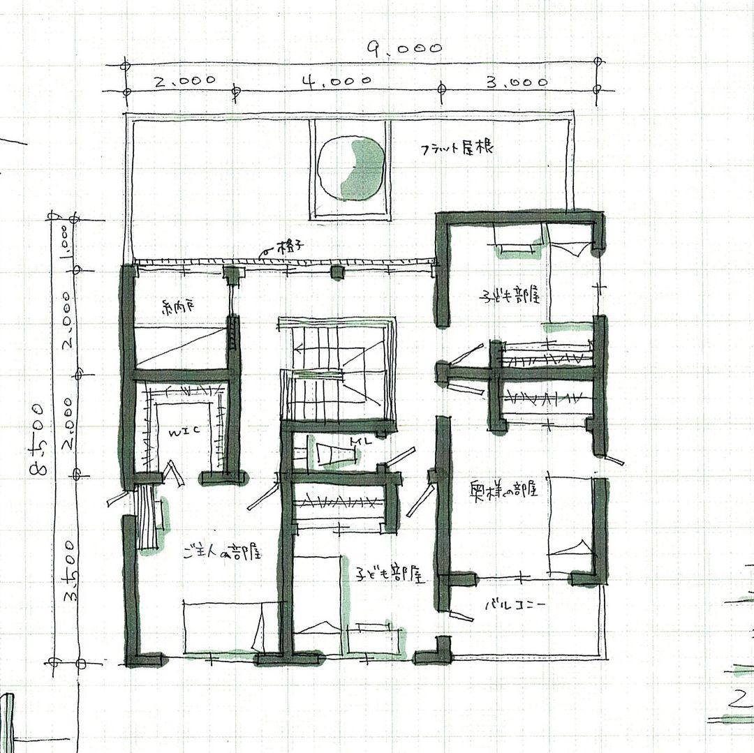 玄関入ってすぐに窓から緑が見えるプラン 土間収納から洗面所 脱衣室にいける動線があります 洗面台うしろは収納になっていて コートなどが掛けられます 裏動線とリビングへのメイン動線を分けています 階段を中心に家の中でグルグル