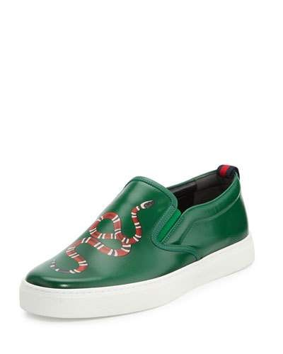 3e0f9f605e1 Men s Designer Sneakers at Neiman Marcus. GUCCI DUBLIN SNAKE-PRINT LEATHER  SLIP-ON SNEAKER.  gucci  shoes