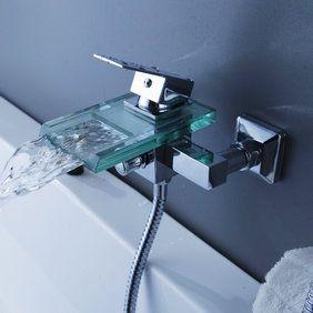 contemporaine cascade chrome robinet de baignoire avec bec en ... - Robinet De Baignoire Avec Douchette