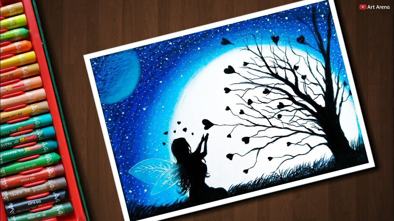 10 16 Fairy Dream Scenery Drawing With Oil Pastels Step