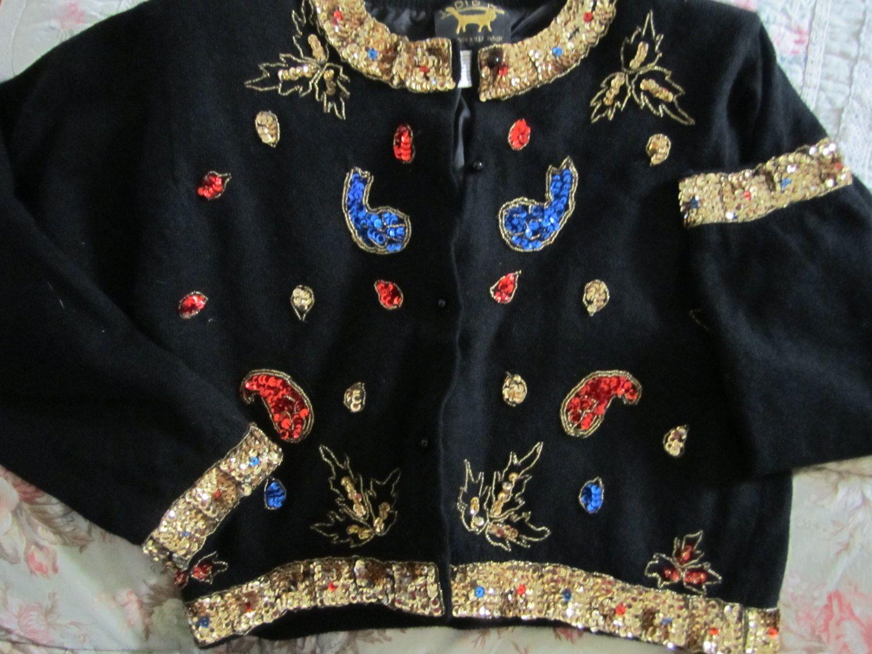 Vintage Glitzy Wms Lined Black Cardigan/Jacket Small Hollywood Regency/Art Nouveau/Hi Fashion Over the Top Bling. $100.00, via Etsy.