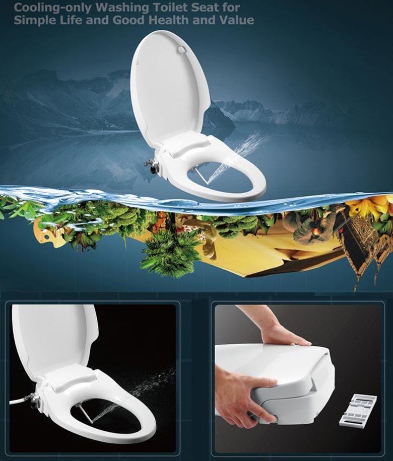 Hibbent Non Electric Bidet Toilet Seat Dual Nozzles Bidet Toilet