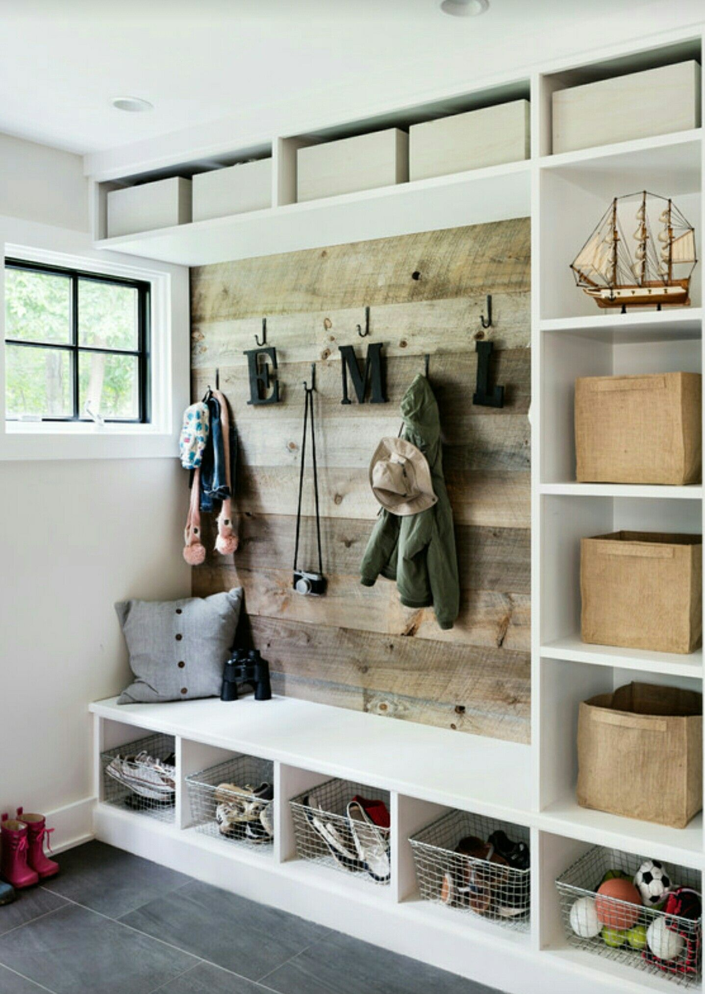 Cubbies With Board Backing For Mud Room Laundry