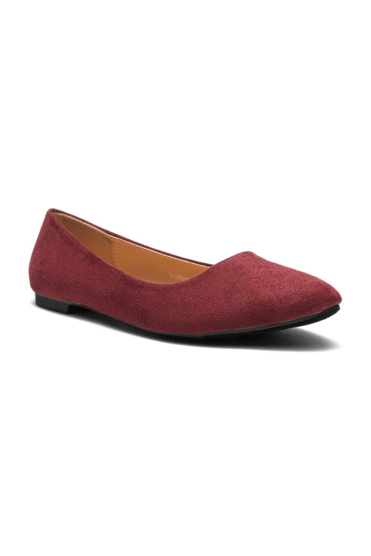 d9bcc242ae HerStyle Women's Manmade Nstaffno Simple Faux Suede Pointy Toe Flats  (Burgundy)