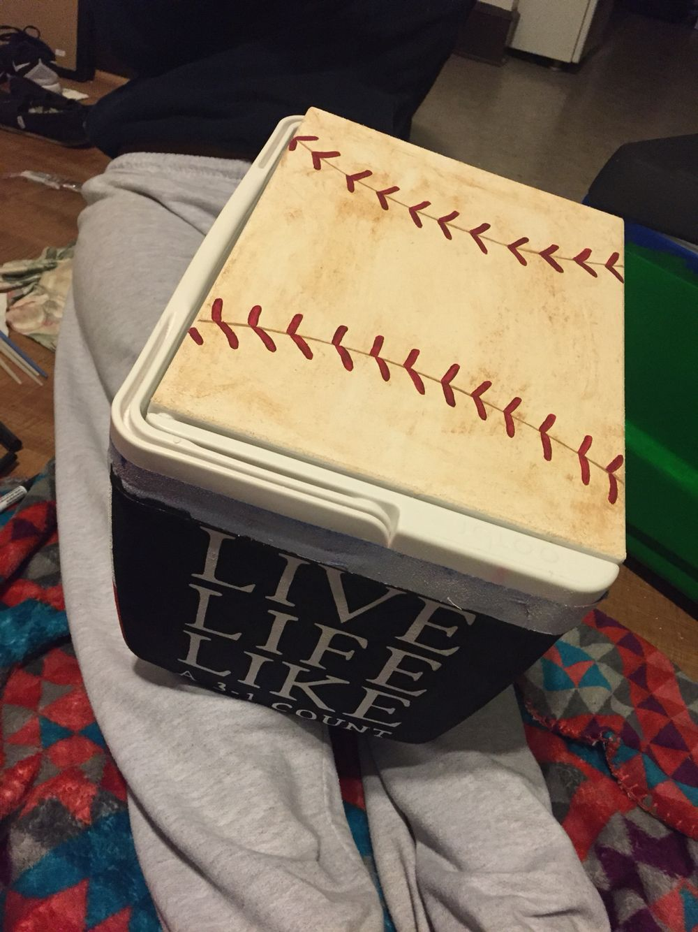 Baseball Theme Painted Cooler Cooler Painting Formal Cooler Ideas Fraternity Coolers