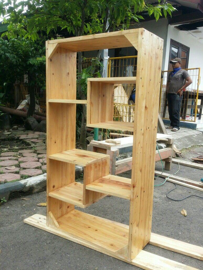 Rak Buku Ngayu Furniture Bahan Jati Belanda Ukuran
