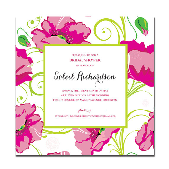 Soleil} Bridal Shower Invitation Pink and Green by digibuddhaPaperie