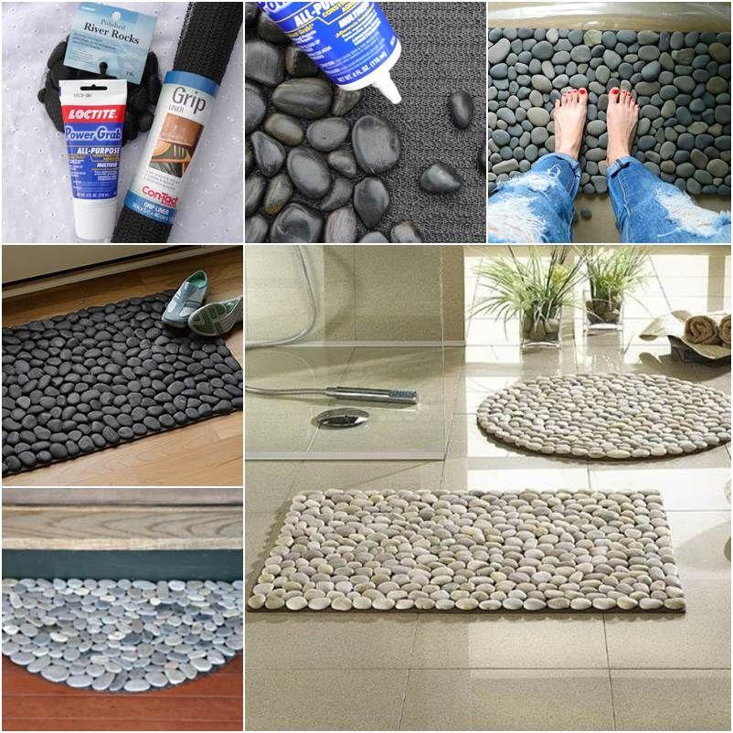 How To Diy Stone Floor Mat Icreativeideas Com Diy Stone Floor Stone Flooring Home Crafts