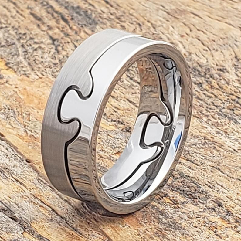Tungsten Puzzle Ring Two Tone Ring Interlocking Ring Band Ring Couples Ring Mens Promise Ring Women S Band Mens Fashion Ring Promise Rings For Guys Promise Rings For Couples Puzzle Wedding Rings