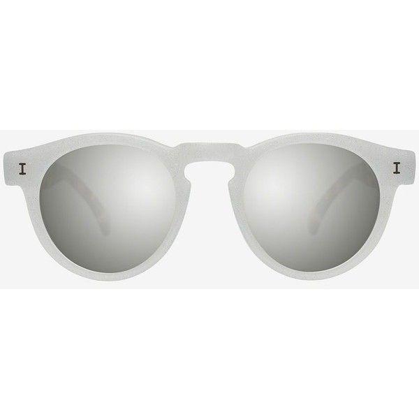 Illesteva Leonard Eco Glitter/Leopard Frame Mirrored Lenses Sunglasses (€165) ❤ liked on Polyvore