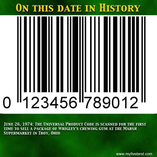 Welcome this piece of retail necessity that made it's debut on this date. To find out more about the barcode and other fun facts, join us on Facebook at: https://www.facebook.com/myfivebest
