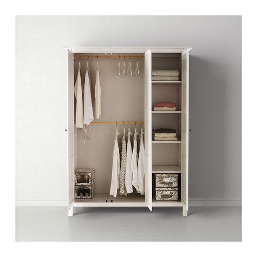 """HEMNES Wardrobe with 3 doors IKEA You can move the shelf to four different positions. Possible pantry/cookware solution, with closet wire shelving added on the left side? 77 1/2"""" H x 59 7/8"""" W x  22 7/8"""" D. $399 as of 3/2014"""