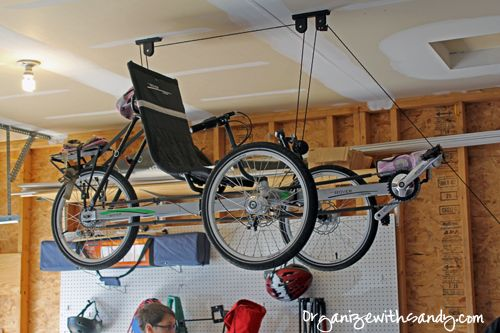 I used the racor bike hanger to hang my recumbent