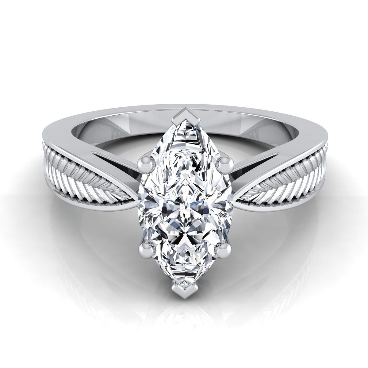 Classic prong marquise diamond engagement ring with leaf texture