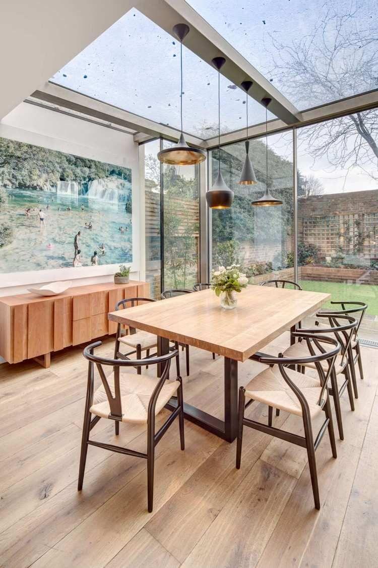 extension de maison salle  manger moderne avec meubles en bois