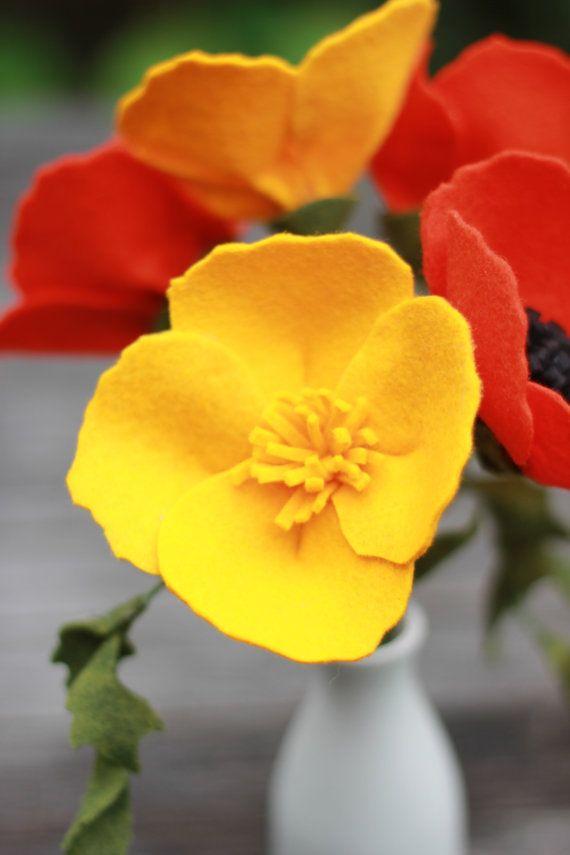Felt California Poppy Bouquet by TheFeltFlorist on Etsy