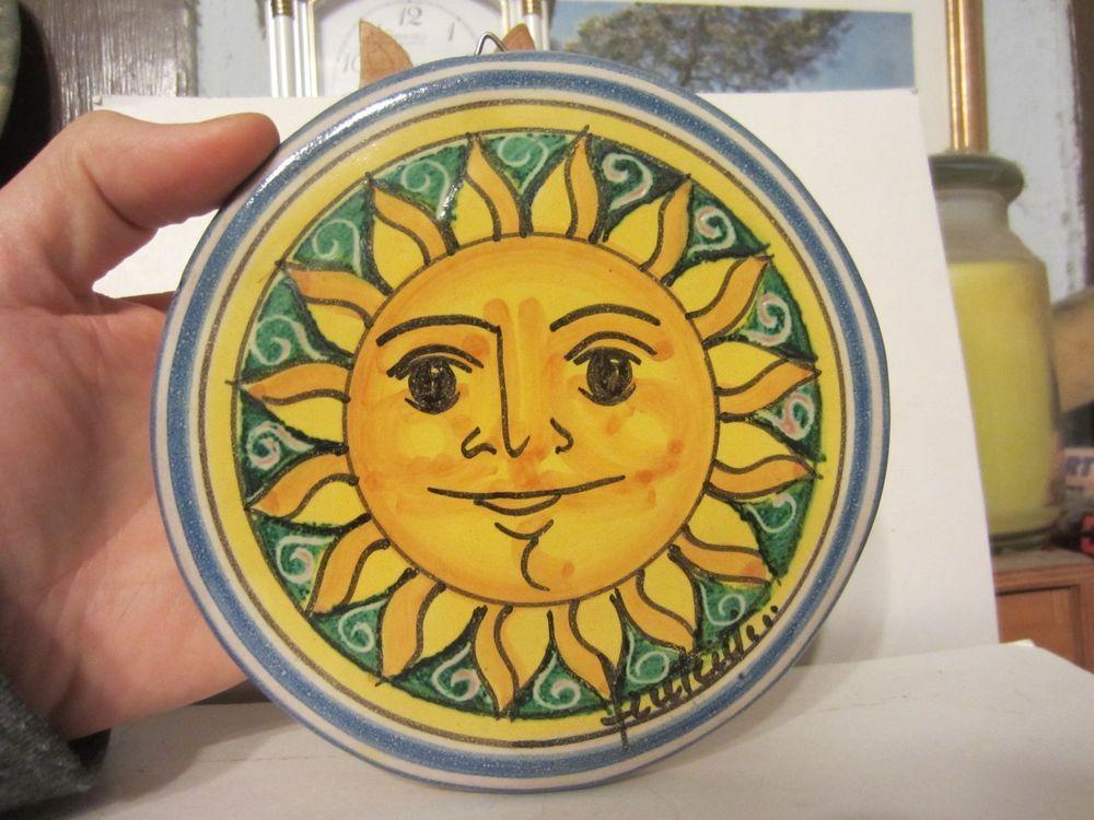 Fratantoni Vietri Italy Majolica Pottery Sun Face Earthenware Tile ...