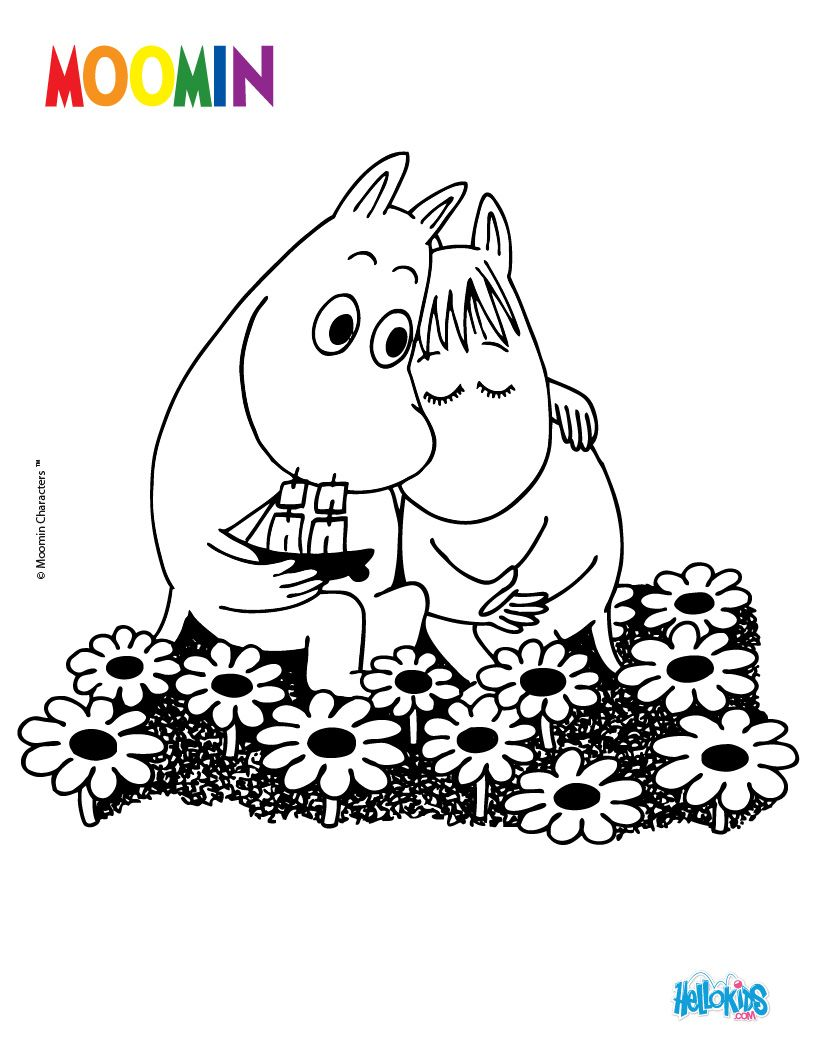 Moomin In Love To Color Online Barbs Day Care Mumins Ausmalen