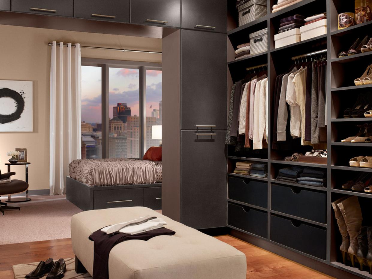 Modern Master Walk in Closet Storage & Closets