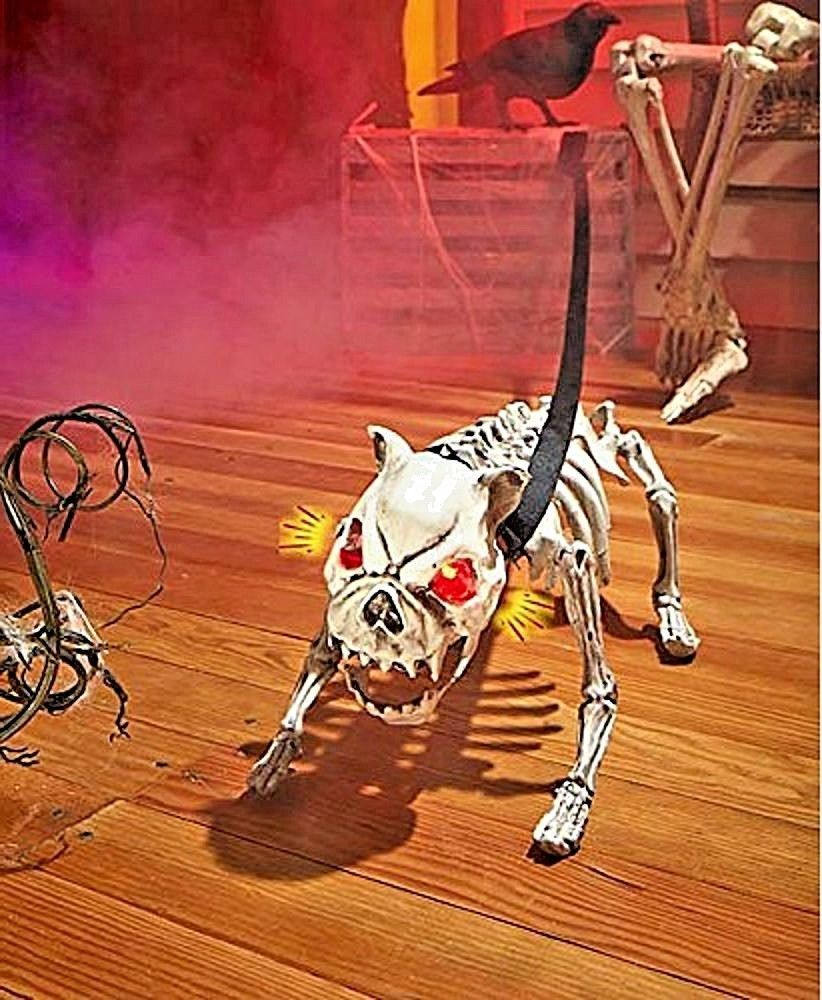 Barking Skeleton Dog Sound Activated Prop Yard Spooky HALLOWEEN - Spooky Halloween Decorations
