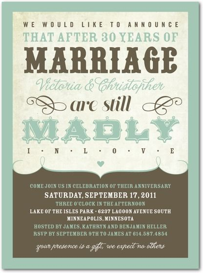 Love Proclamation Anniversary Invitations in Basil or Rich Red – Wedding Anniversary Party Invitations