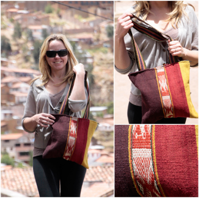 Colourful Ethnic Bag £47 handmade (hand dyed and woven) alpaca