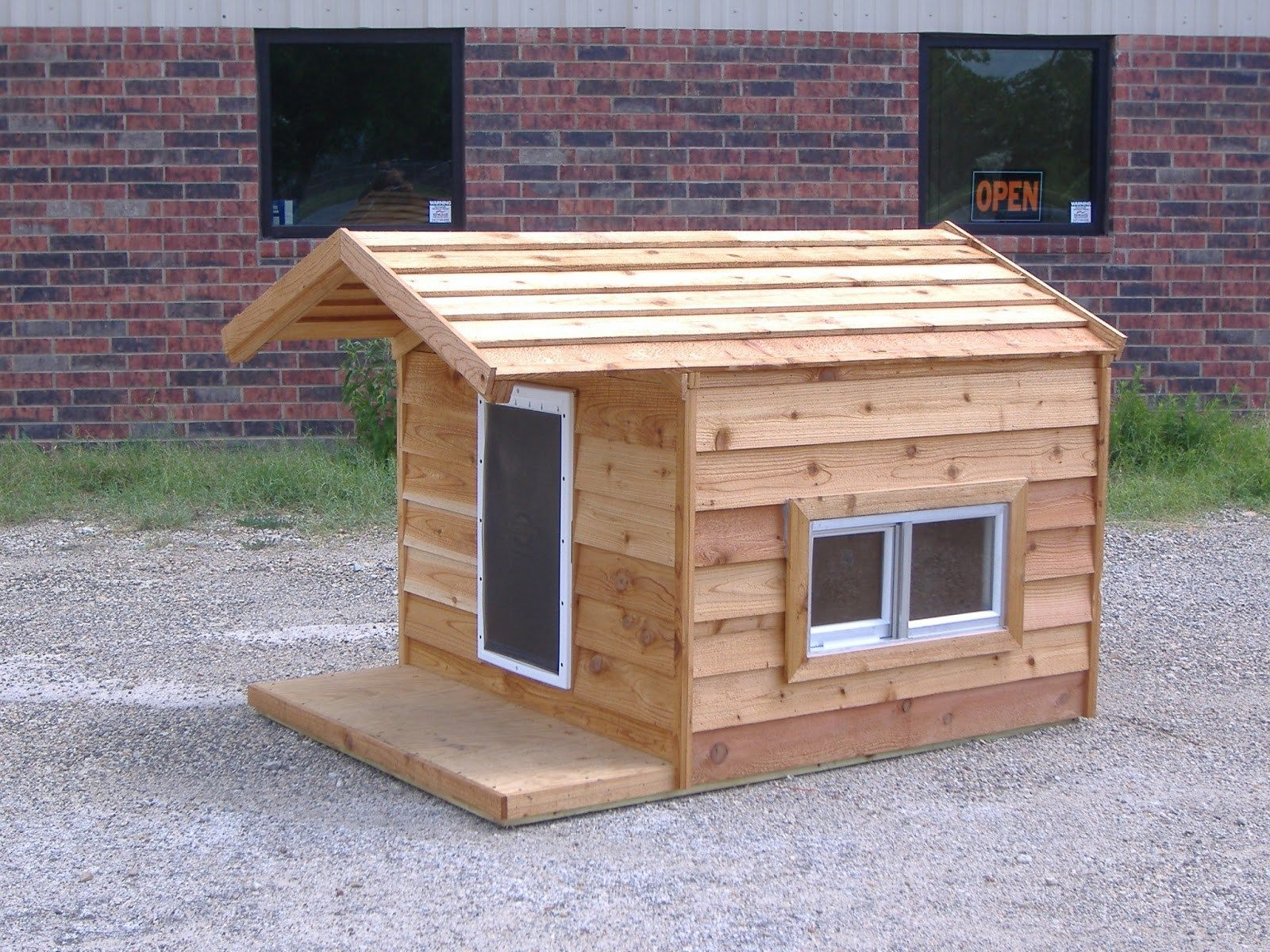 48x66x46 Custom Large Insulated Heated Dog House with Porch Open Top 2 Windows Hound Heater Door & 48x66x46 Custom Large Insulated Heated Dog House with Porch Open Top ...
