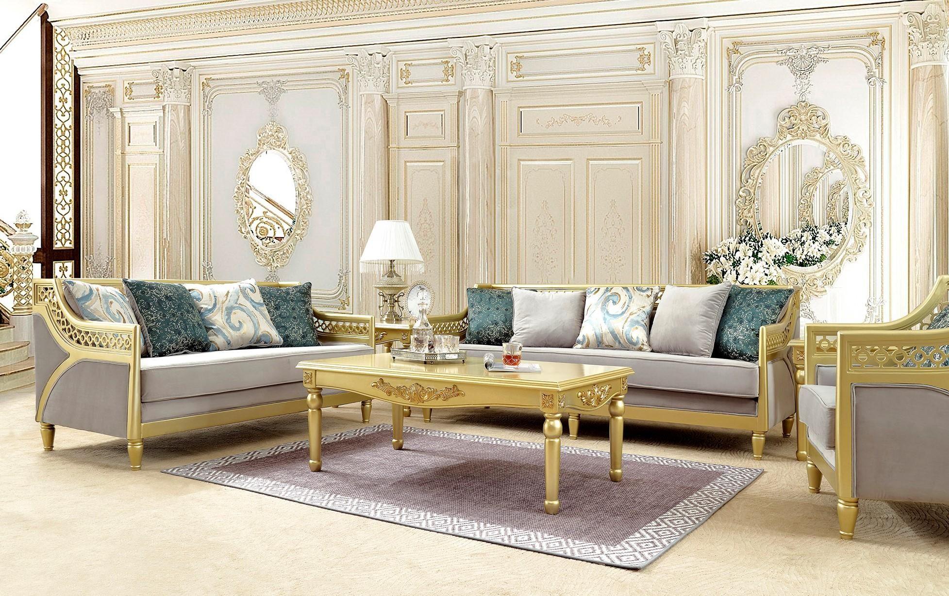 Gray Fabric Metallic Gold Sofa Set 3pcs Traditional Homey Design Hd 2063 Hd 2063 Sset3 Gold Living Room Gold Sofa Furniture Sofa Set